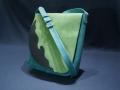 Les Cuirs de Lune - Besace Arabesque turquoise vert marine