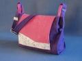 Les Cuirs de Lune - Besace Home nubuck violet, rose, blanc pailleté