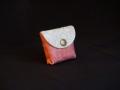 Les Cuirs de Lune - Mini porte-monnaie rose pâle blanc grisé motif fleur