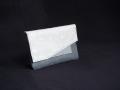 Les Cuirs de Lune - Porte-papiers noir moirré, blanc façon galuchat, gris orage