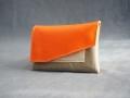 porte-papiers tabatière orange, gris pailleté