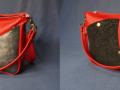 Sac GéoT rouge carmin noir motif gris pailleté